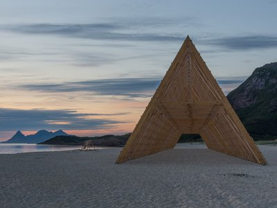 Sculpture inspired by traditional Norwegian fiskehjeller (fish racks) and designed by Rintala Eggertsson Architects
