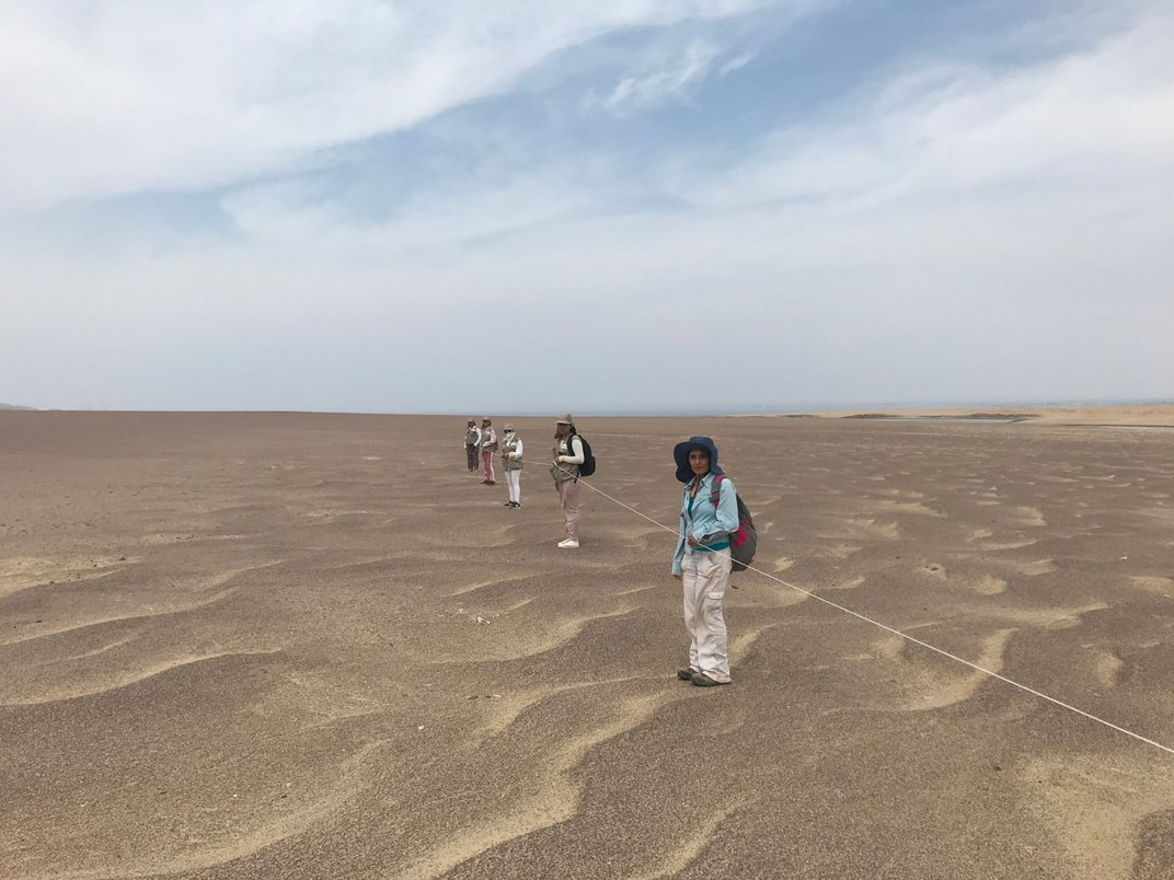 A group of researchers in the desert holding a length of rope as they travel through the sandy landscape.