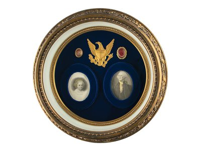 A framed display of locks of George and Martha Washington's hair is estimated to sell for upward of $75,000.