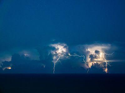 Lightning strikes over the Atlantic Ocean off the coast of Florida.