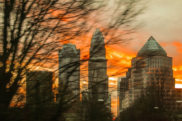 City with winter sunset thumbnail