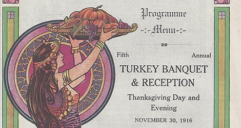Beautiful art on the menu for Thanksgiving Day, 1916, at the Greyhound Inn.