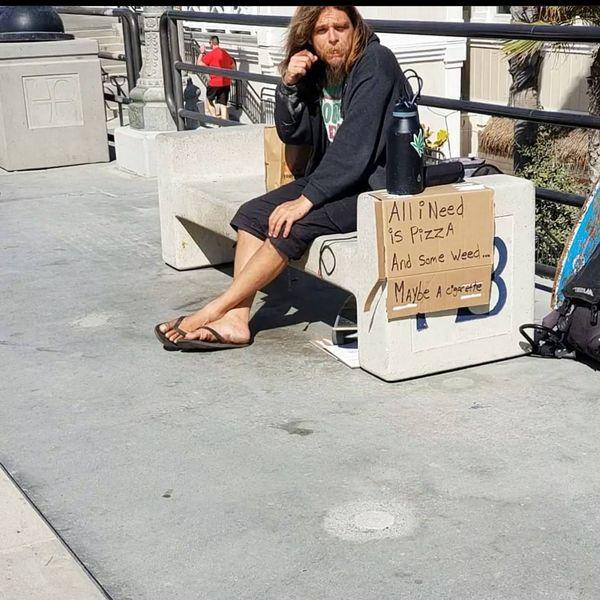 Homeless  man in Huntington Beach CA thumbnail