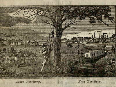 An illustration from an abolitionist paper shows the divide in border states like Ohio, where a small African American minority petitioned for change.