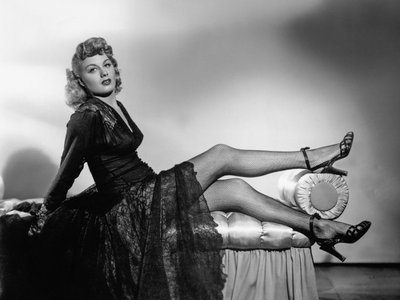 Today nylon adds stretch to fishnets (worn here by Shelley Winters) and a variety of legwear.