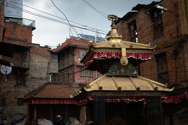Shrine in the midst of earthquake damaged buildings thumbnail