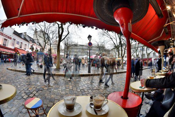 Ghost people walking at Montmartre of Paris thumbnail