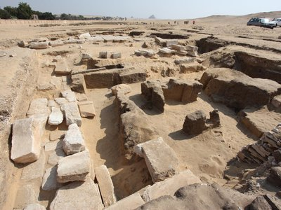 The mud brick foundation of a 3,200-year-old temple to the pharaoh Rameses II