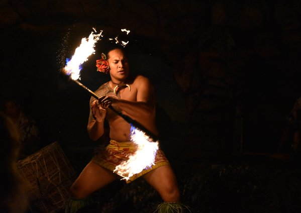 Fire tricks at a hula show in Maui thumbnail