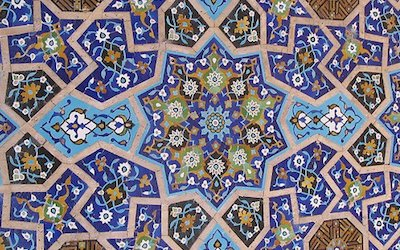 Tile art in Iran. Learn how to make ornate designs like this — from carving to installation — in Tuesday night lessons at the Ripley Center.