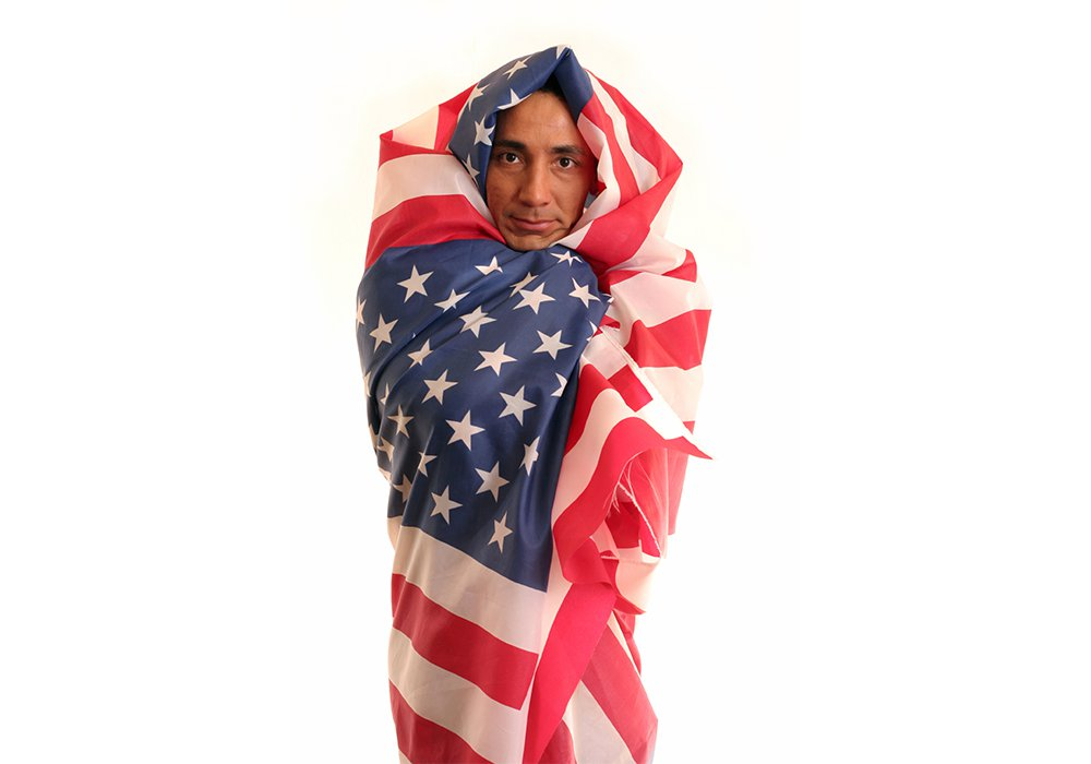 Man Wrapped in Flag