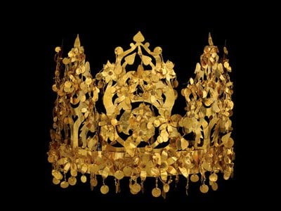 Crown from the Tillya Tepe, Tomb VI, 1st century BC - 1st century AD.  Crown is gold and imitation turquoise