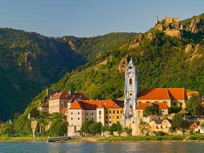 The village and vineyards of Dürnstein form part of Lower Austria's Wachau Valley.