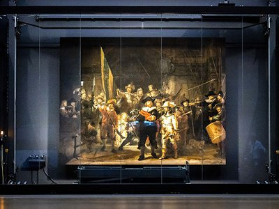 Rembrandt's 'Night Watch' is put in place at the Rijksmuseum during 'Operation Night Watch.'