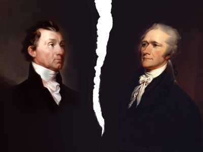 James Monroe (L) and Alexander Hamilton (R) nearly dueled each other, but an unlikely political ally stepped in