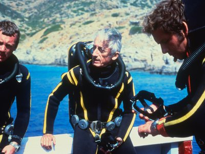 Jacques Cousteau himself, in diving gear