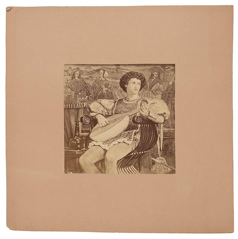 Photograph of Charles Caryl Coleman's lute player in a savonarola chair