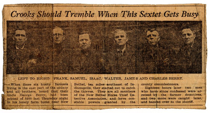 """Newspaper headline reading """"Crooks should tremble when this sextet gets busy"""""""