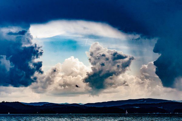 clouds over the Solina Lake in the Bieszczady Mountains in Poland thumbnail