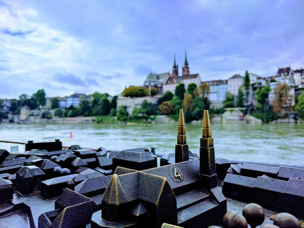Statuette of Basel Münster in scale with The Rhine cutting through thumbnail