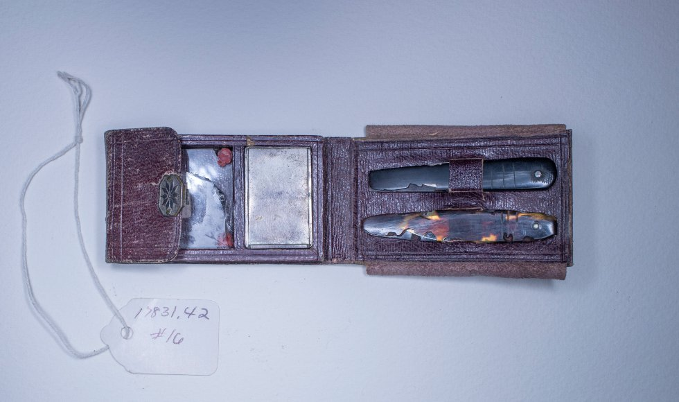 A small leather vaccination kit, with small lancets and glass slides used for inoculating soldiers against smallpox during the Civil War