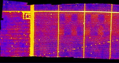 A thermal infrared image of orchard water levels