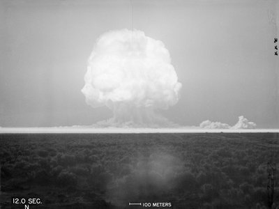 Photo of the world's first atomic explosion at the Trinity Site in New Mexico.