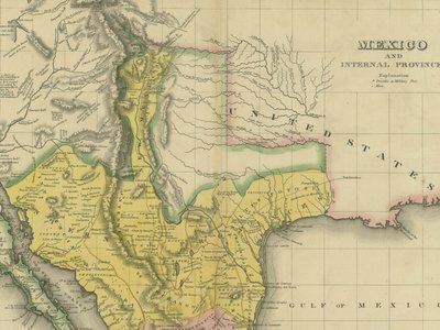 A map shows Mexico and its provinces—which included Mexican Texas—in 1822.