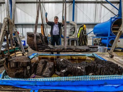 The 4,000-year-old wooden coffin will go on display following extensive conservation work.