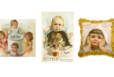 Pictures of children were used in these 19th-century advertising cards.