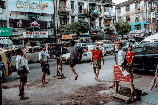 Chinlone players in Yangon thumbnail
