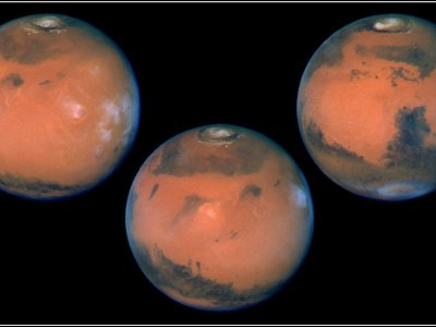 These images show the planet on the last day of Martian spring in the northern hemisphere (just before summer solstice). The annual north polar carbon dioxide frost (dry ice) cap is rapidly sublimating, revealing the much smaller permanent water ice cap.