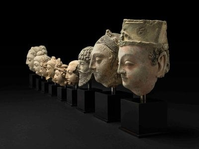 The nine sculpted heads were recovered at Heathrow Airport in 2002