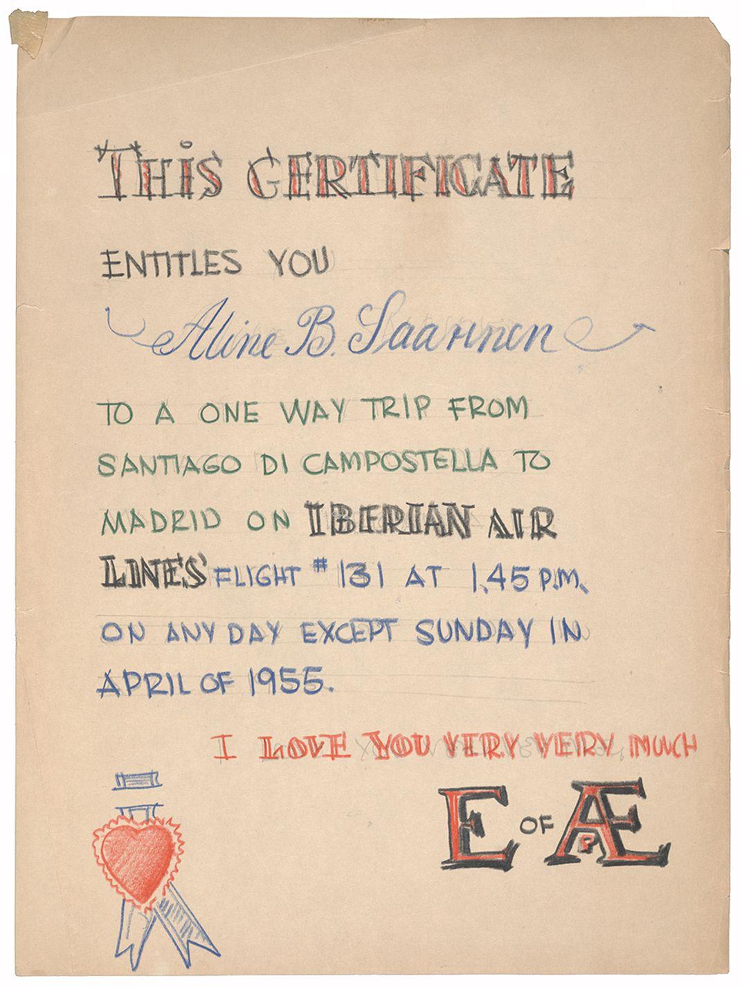 Certificate for Aline Saarinen made by Eero Saarinen