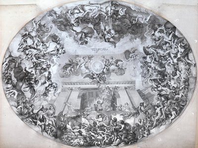 An original drawing of 'The Palace of the Sun' by Charles Le Brun, designed to be painted on the ceiling of the Grand salon of Vaux-le-Vicomte.