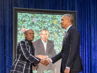"""Both Kehinde Wiley and Obama said they were struck by parallels in their life stories. """"Both of us had American mothers who raised us, with extraordinary love and support,"""" Obama said."""