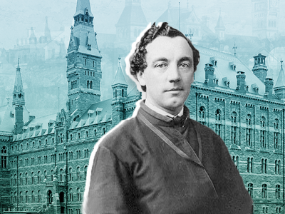 Patrick Francis Healy, depicted here in front of Healy Hall, served as Georgetown University's president between 1874 and 1882.