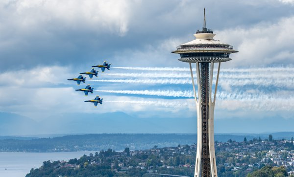 Blue Angels flying by the Space Needle thumbnail