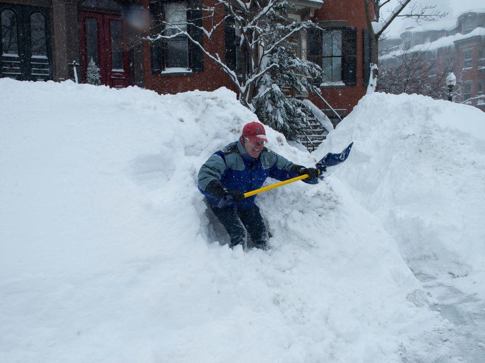 shoveling Boston snow