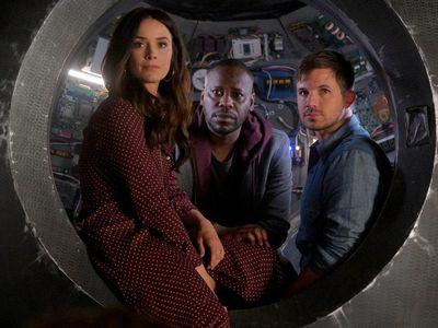 Abigail Spencer as Lucy Preston, Malcolm Barrett as Rufus Carlin, and Matt Lanter as Wyatt Logan just got back from saving history. Again. NBD.