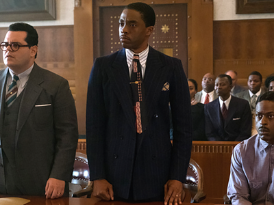 """In """"Marshall,"""" a new movie starring Chadwick Boseman and Josh Gad, the future Supreme Court Justice Thurgood Marshall argues a case for a black man accused of rape."""