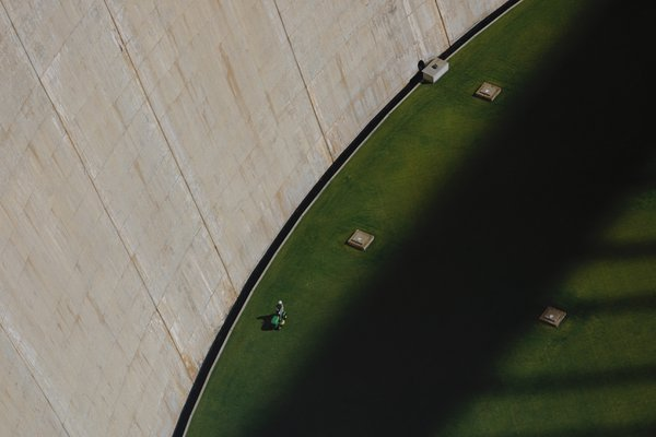 Look Down at the Empty Bottom of the Glen Canyon Dam thumbnail