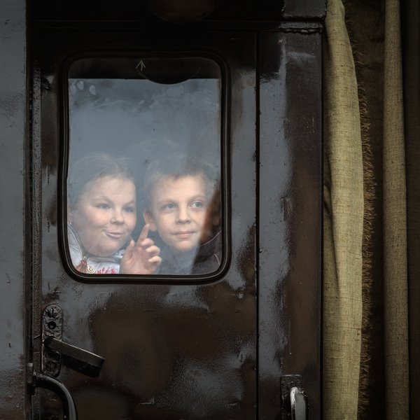 Children in the train window  thumbnail