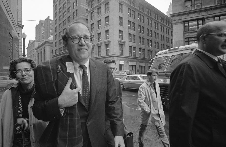 William Sloane Coffin Jr., followed by his sister, arrives at federal building in Boston on May 20, 1968.