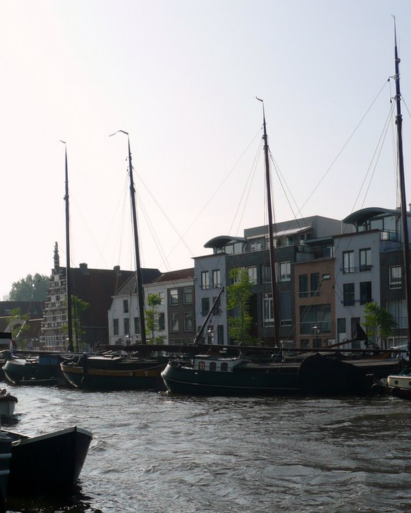 Sailboats on the canal in Leiden, Holland thumbnail