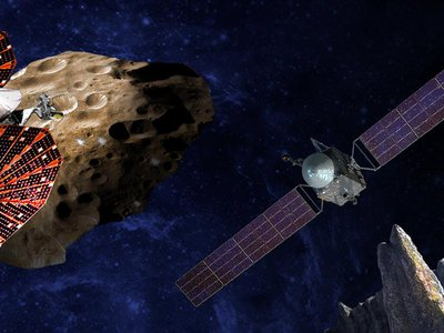 An artist's conception of the Lucy spacecraft flying by the Trojan asteroid Eurybates (left) and Psyche, the first mission to a metal asteroid (right).