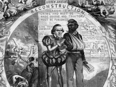 The cartoon by Thomas Nast shows the battles between President Johnson and Congress over Reconstruction.