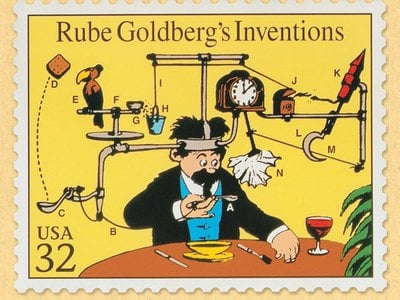 RUBE GOLDBERG ® is a registered trademark of Rube Goldberg Inc. All materials used with permission. rubegoldberg.com. The Art of Rube Goldberg on view March 15–July 8, 2018 at The Contemporary Jewish Museum, San Francisco.