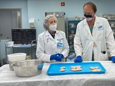 Mary Fowkes, a pathologist at Mount Sinai Hospital in New York, examines brain slices from an autopsy.
