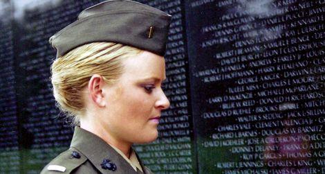 Lieutenant Elle Helmer, US Marine Corps, at the Vietnam War Memorial